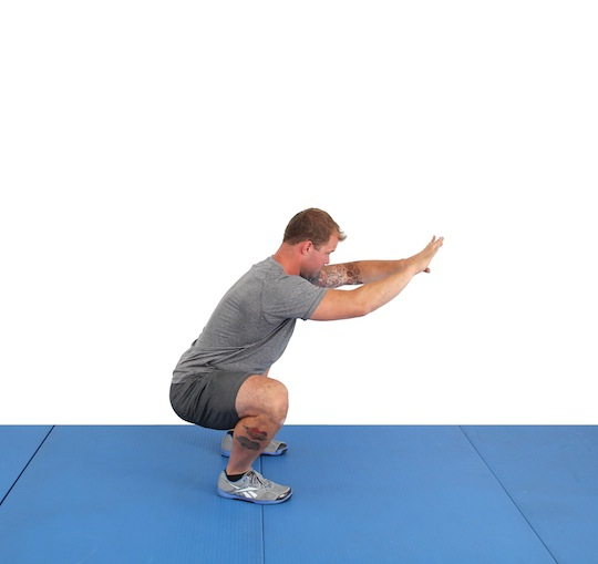 Step 3: Pull yourself into the bottom of the squat