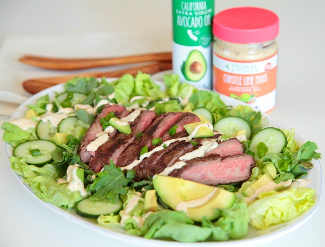 Primal Kitchen Chipotle Lime Mayo steak and avocado salad with primal kitchen chipotle lime mayo