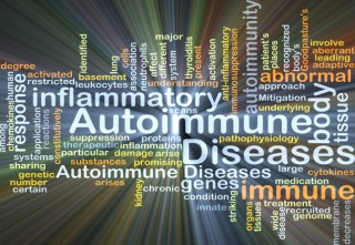 Background concept wordcloud illustration of autoimmune disease glowing light